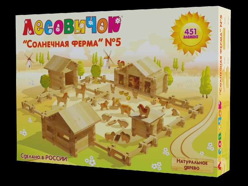 Деревянный конструктор из бревнышек Лесовичок Солнечная Ферма №5 (451 деталей) les 016