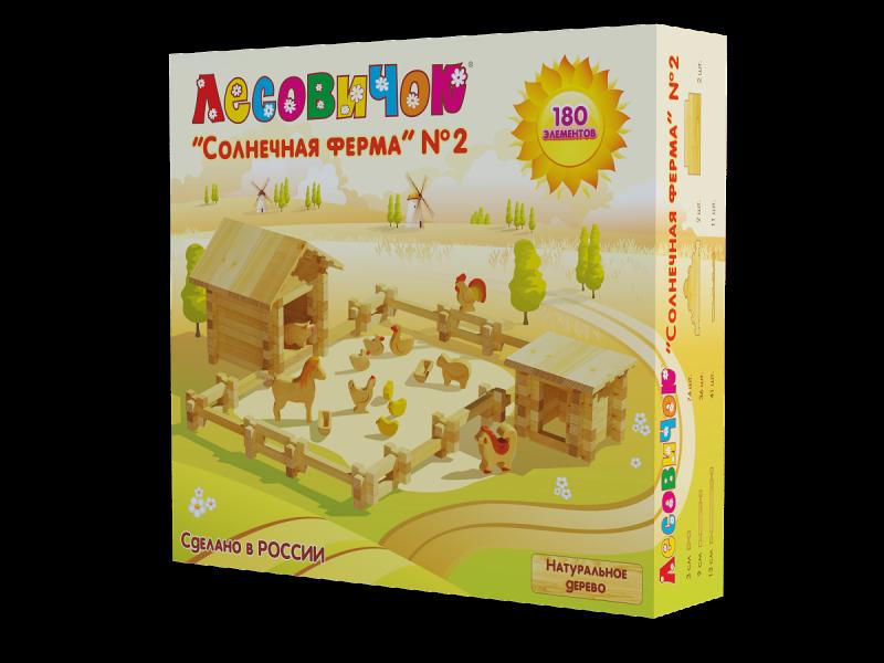Деревянный конструктор из бревнышек Лесовичок Ферма 2 (180 дет.)